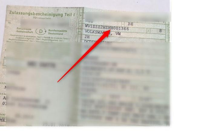 Fahrgestellnummer (FIN) im Fahrzeugschein