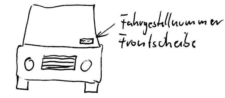 Fahrgestellnummer FIN Frontscheibe